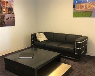 "(2) Black fine, Italian leather sofa 73""x28"""