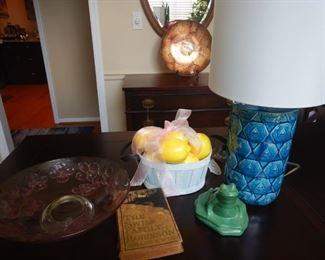 Blue pineapple lame, Swiss Family Robinson book, dogwood platter