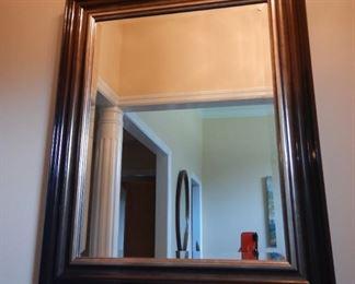 Rectangular beveled mirror with wood frame