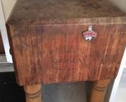 Large heavy antique chopping block marked McCray.