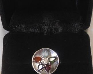 14 k Diamond and Stone Ring