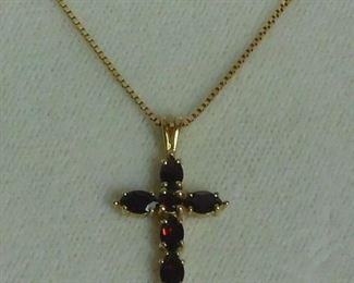 14 k Garnet Cross Necklace