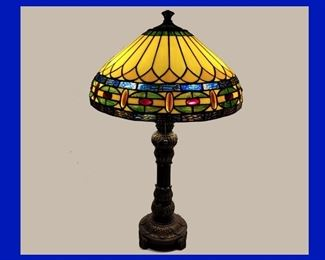 Showing One of a Pair of Gorgeous Tiffany Style Lamps Lit
