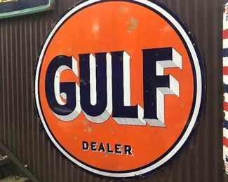 "VINTAGE GULF DEALER SIGN - PORCELAIN 65"" Diameter. Double Sided, Known as ""the Pin Stripe"" sign"