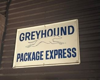VINTAGE GREYHOUND PACKAGE EXPRESS SIGN, RARE