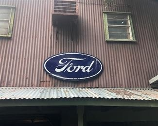 Giant Vintage Double Sided Ford Motor Company Porcelain Sign