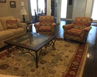 Side chairs, coffee table, area rug and Lazy Boy Couch