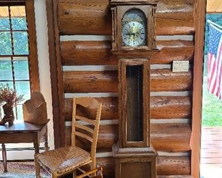 Grandfather clock 2 and chair