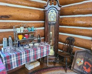 grandfather clocl 2 and kitchenware