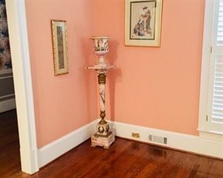 Beautiful French marble torch motif pedestal