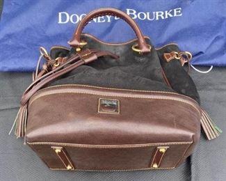 001 Dooney Bourke Black Handbag with Brown Accents