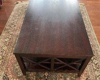 "$150 DARK BROWN WOODEN MODERN COFFEE TABLE 48""L x 28""W x 19""H"