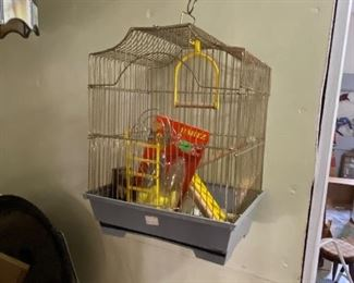 vintage new old stock bird cage with accessories