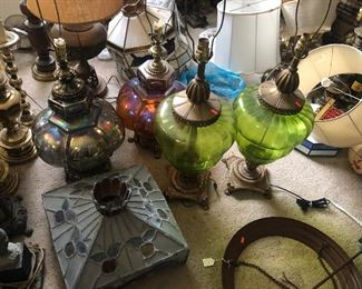 over 200 lamp all vintage and lamp shades, parts, and more.