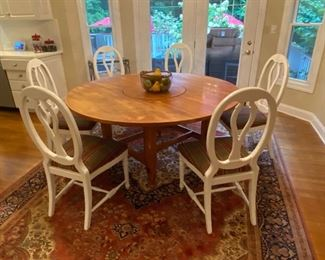 "Distressed Farm House Round Table 64"" with 6 chairs & Custom Lazy Susan Center."
