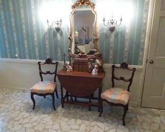 Barley twist drop leaf table and 2 balloon back chairs