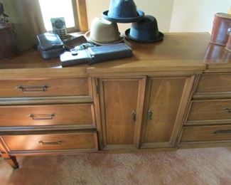 White Dresser and great vintage mens hats etc