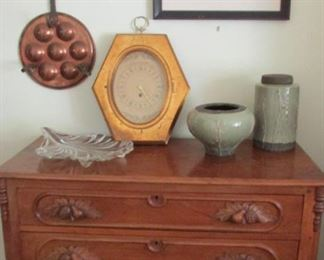 I love these oak leaf dressers so many ways to use this piece. OK and the copper pan is cool too. Escargot anyone.