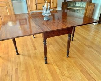 "$495 Vintage drop leaf wood table.  36"" W, 19"" D, 29"" H; plus two 14.5"" leaves"