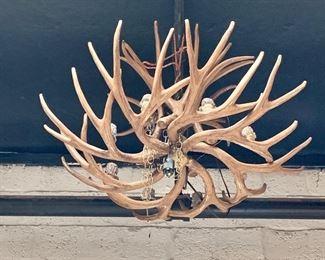 """$495 8 - light, faux antler electrified chandelier #1 -Faux antler electrified chandelier - Approx 28"""" D"""