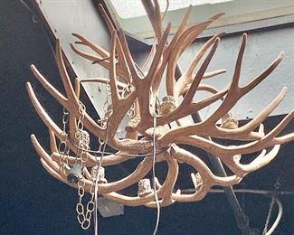 "$495 8- light, faux antler electrified chandelier #2 -  Approx 28"" D"