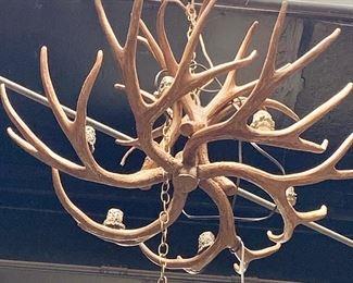 "$495 8-light, faux antler electrified chandelier #4 -  Approx 28"" D"