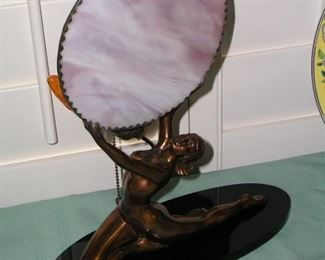 "Item 11: Antique Art Nouveau / Victorian Brass Nude Lady Lamp - Stained Glass Disc - Absolutely Awesome! - Base is 12"" wide x 5"" deep - 14"" tall Asking Price: $395.00"