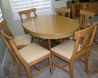 """Item 14: Vintage Oval Dining Table with 6 Harp Design Chairs - Table 54"""" x 36"""" - Duncan Phyfe Style Base (metal feet) - Marked """"611"""" underneath table - Chairs are marked 625B underneath - One Captain's Chair - Very beautiful set Asking Price: $295.00"""