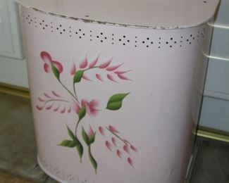 "Item 19: Vintage Pink Metal Clothes Hamper - 24"" tall x 21"" wide x 12"" deep - Very Good Condition - some paint chipping Asking Price: $35.00"