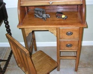 "Item 15: Antique Child's Rolltop Desk with Chair - 23"" wide x 16"" deep x 34"" tall - 2 Drawers - So Adorable! Asking Price: $150.00"