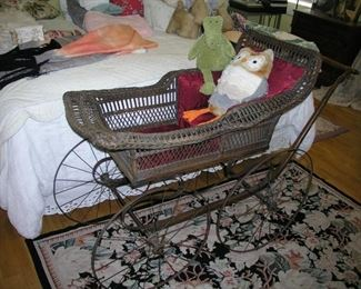 """Item 20: Antique Victorian Wicker Baby Carriage (Pram) - Very Good to Excellent Condition, especially for its age - slight damage, but not much - 52"""" overall length x 38"""" tall x 22"""" wide - Wheels are 22"""" in diameter Asking Price: $295.00"""