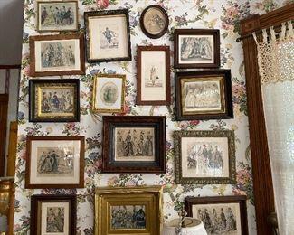 Framed Victorian prints
