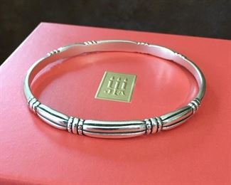 "RETIRED James Avery sterling silver thatch bangle bracelet. Size 1/4"" w x 7 3/4"" inner circumference. Signed with JA logo mark, and stamped 925. $180"