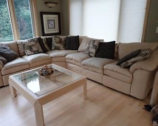 SECTIONAL WITH PILLOWS - GLASS TOP COFFEE TABLE
