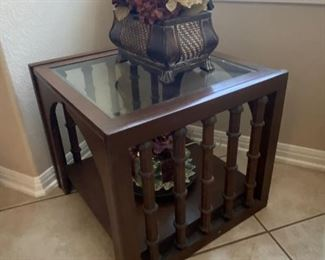 unique spindle side table with glass top