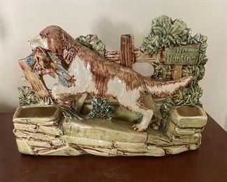 McCoy Pottery hunting dog planter