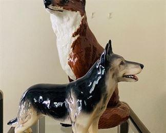 "Large Beswick porcelain 12-1/2"" rare Sitting Fox figurine; German Shepherd Porcelain  figurine-Germany"