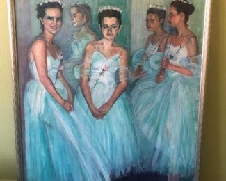 Original large painting of ballerinas by local La Jolla artist Elizabeth Reis