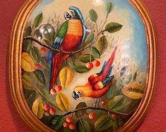 Large enameled porcelain hand painted parrots, framed wall hanging