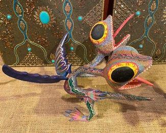 Oaxacan Mexican folk art artist painted sculpture