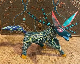 Oaxacan Mexican folk art artist painted whimsical donkey by Martin Tilacajeta