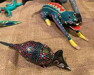 Oaxacan Mexican folk art artist painted sculptures