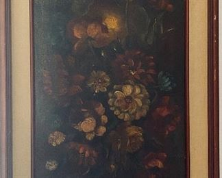 Antique floral painting on canvas
