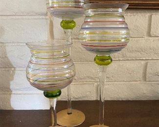 Set of 3 large candle holders blown glass