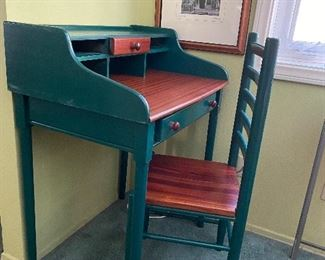 Painted student desk and chair