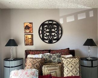 Bernhardt headboard, footboard and side rails, decorative pillows, 2 modern night stands/end tables, lamps and wall art