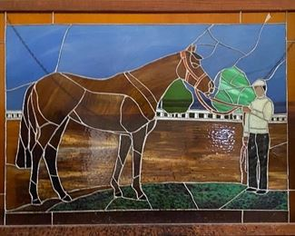 Stained glass racing horse and jockey