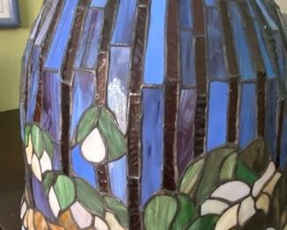 Stained glass  tulip shaped lamp shade - large