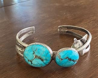 Vintage American Native Indian  turquoise and sterling bracelet