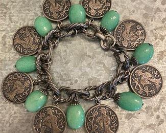 Thailand coun charm bracelet with jade dangle stones